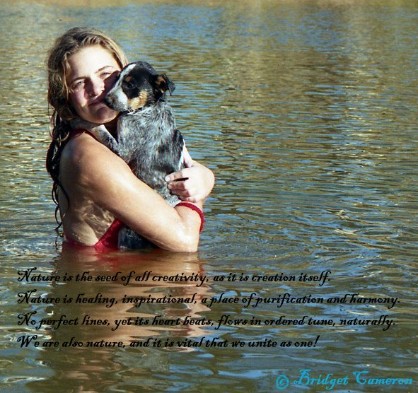 Carole with dog at Wigglies Waterhole, N.T. Australia.